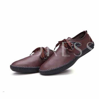 Flat Heel Contrast Color Lace-Up Front Men's Loafers