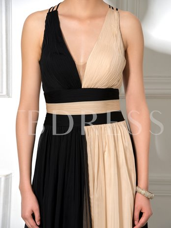 Sexy V-Neck Color Block Criss-Cross Straps A-Line Long Evening Dress