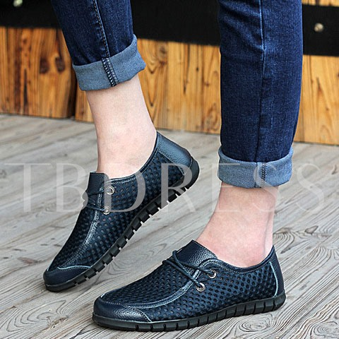 Hollow Round Toe Lace-up Men's Flats