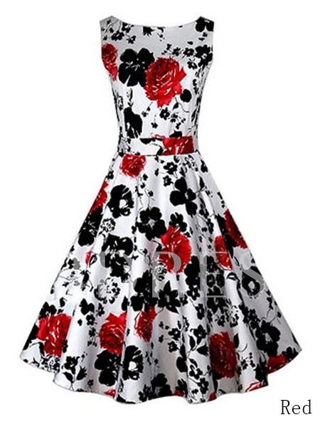Floral Print Sleeveless Vintage Mid-Waist Women's Day Dress