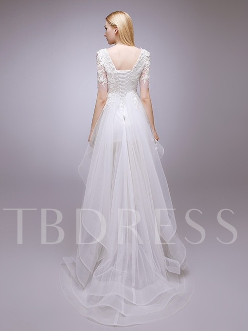 Half Sleeve Appliques High Low Beach Wedding Dress