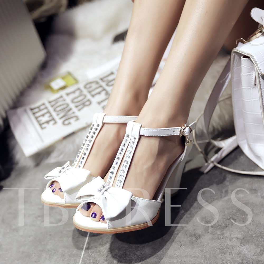 Buy Bowknot Rhinestone Chunky Heel Women's Sandals, Summer, 11388682 for $31.99 in TBDress store