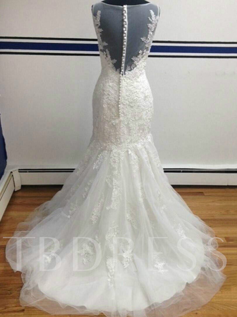 Mermaid Button Sheer Back Lace Plus Size Wedding Dress