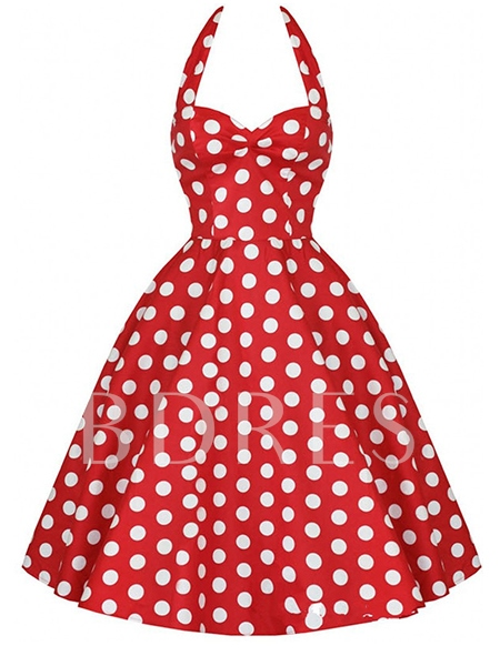 Polka Dots Sleeveless Women's Vintage Dress