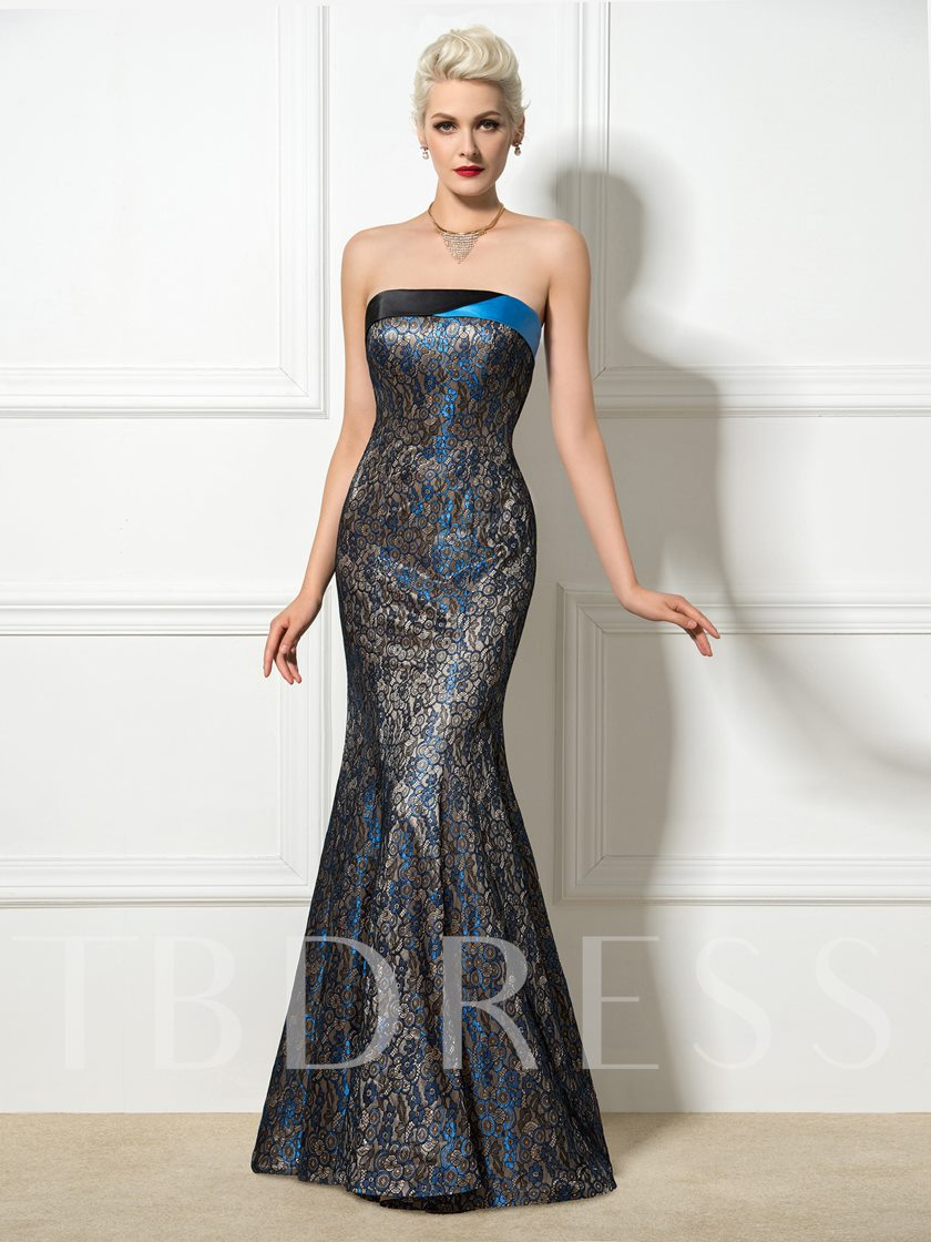 Strpaless Floor-Length Trumpet/Mermaid Lace-Up Lace Evening Dress