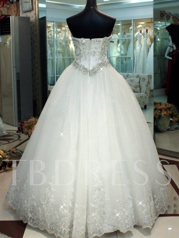 Sequins Appliques Ball Gown Plus Size Wedding Dress