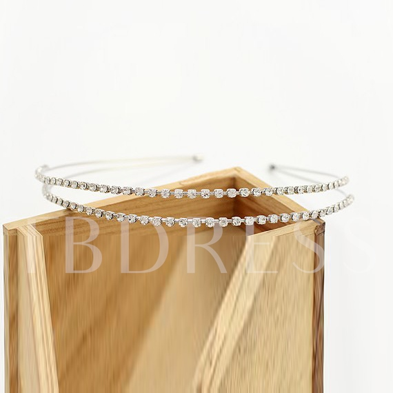 Exquisite Fashion Double Row Diamante Hair Band