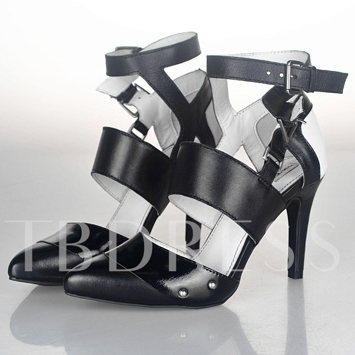 Pointed Toe Color Block Stiletto Heel Buckle Women's Pumps, Sheshoe, Spring,Summer,Fall, 12440546