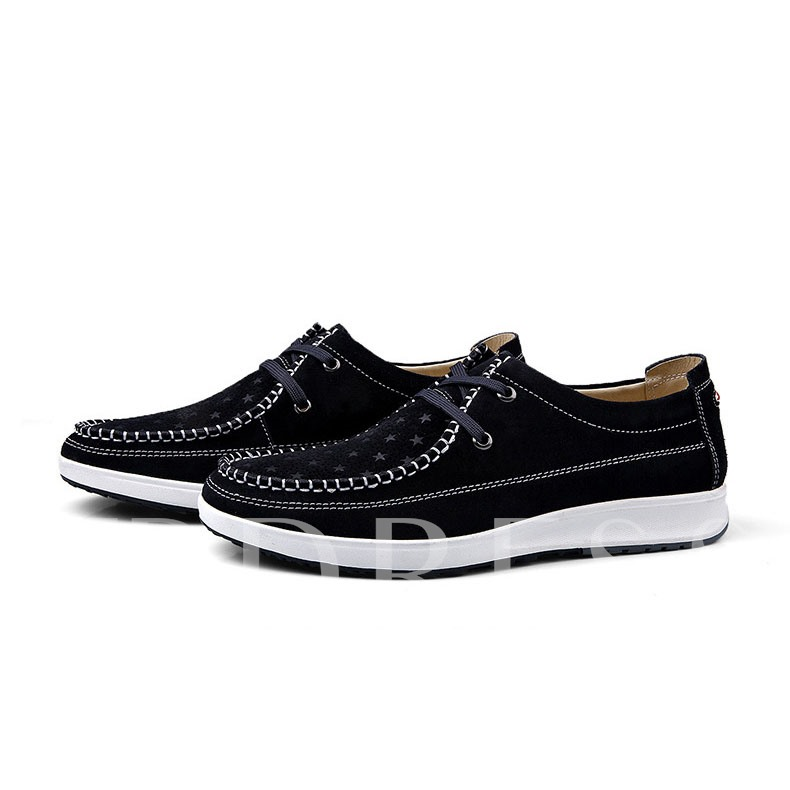 Lace-Up Front Star Pattern Flat Heel Men's Loafers