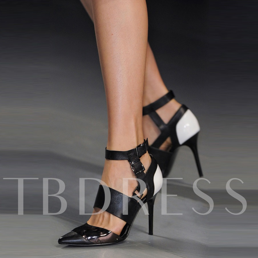 Pointed Toe Color Block Stiletto Heel Buckle Women's Pumps