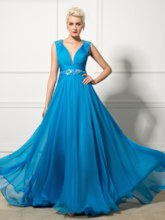 V-Neck A-Line Beading Ruched Evening Dress
