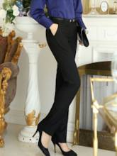 Slim Solid Color Straight Women's Pants