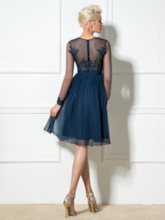 Square A-Line Appliques Beaded Cocktail Dress