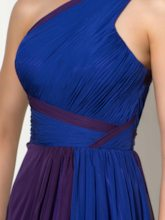 One-Shoulder A-Line Ruched Court Train Evening Dress