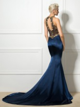 Jewel Neck Mermaid Rhinestone Beaded Evening Dress