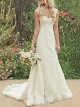 Straps Mermaid Lace Country Wedding Dress