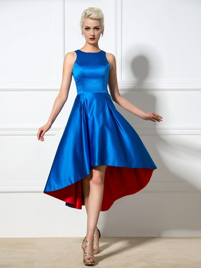 A-Line Jewel Neck Asymmetric Cocktail Dress
