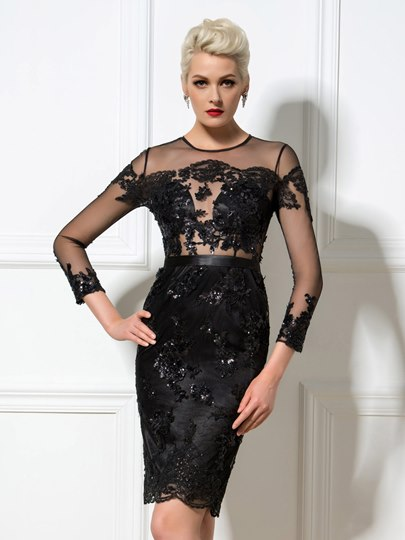 Long Sleeve Jewel Neck Column Applique Sequin Knee-Length Cocktail Dress