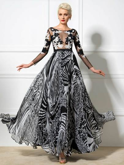 A-Line Long Sleeves Bateau Neck Appliques Printed Evening Dress