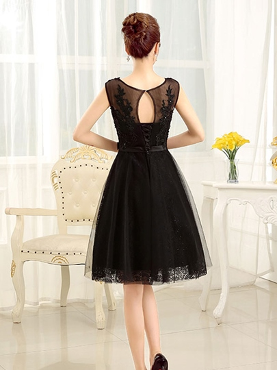 A-Line Round Appliques Beading Short Homecoming Dress