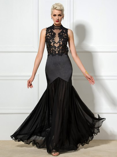 High Neck Sheath Applique Backless Floor-Length Evening Dress