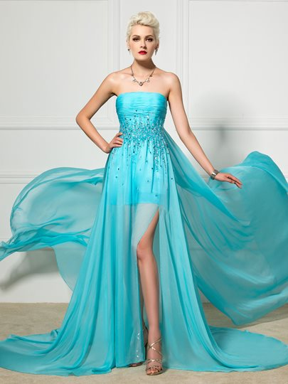 Strapless A-Line Beading Pleats Watteau Train Evening Dress