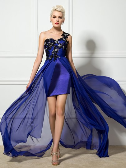 Sheath One-Shoulder Appliques Flower Asymmetric Evening Dress