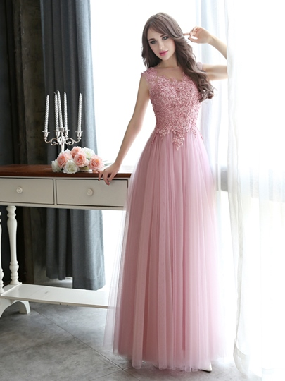 A-Line Scoop Neck Appliques Pearls Floor-Length Evening Dress