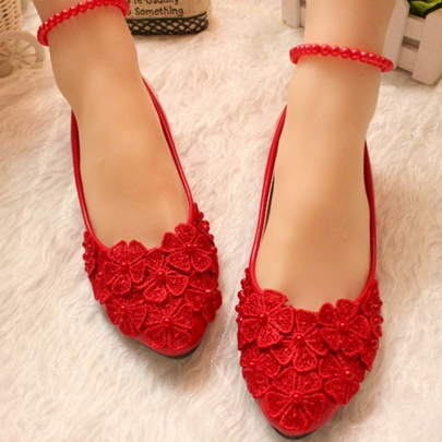 Flowers Pearls Flat Bridal Wedding Shoes with Ankle Straps