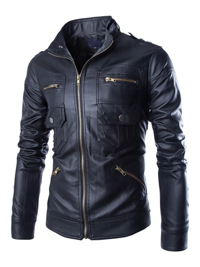 Front Zipper Pocket Long Sleeves PU Men's Jacket