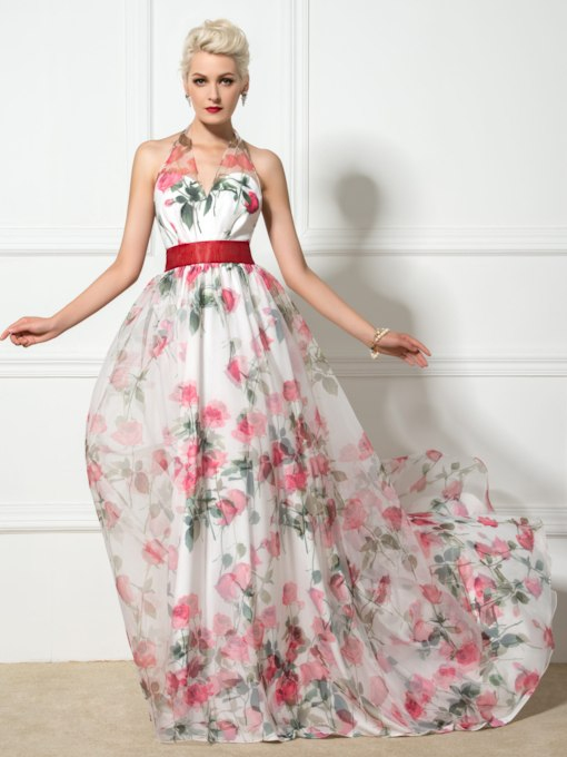 A-Line Halter Floral Print Backless Evening Dress