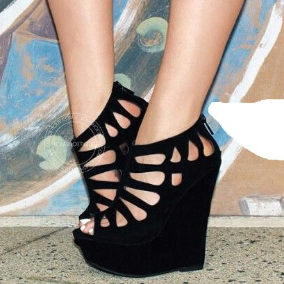 Hollow Black Wedge Heel Women's Sandals (Plus Size Available)