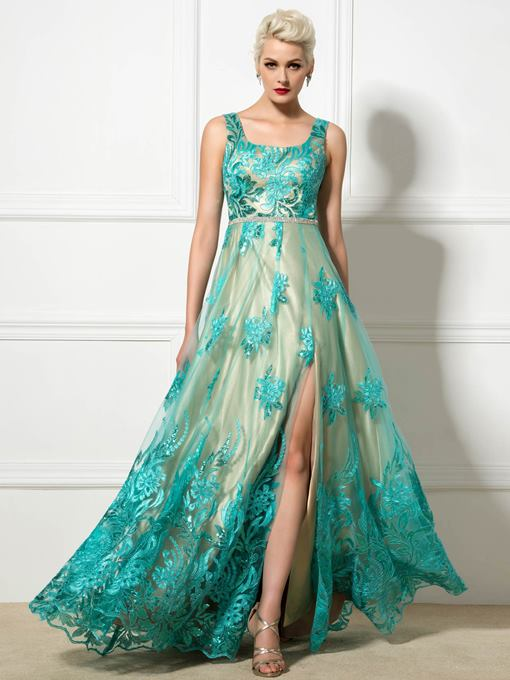 Straps A-Line Split-Front Lace Floor-Length Evening Dress