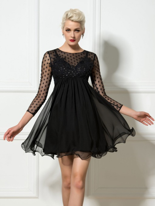 Round Neck 3/4 Length Sleeve Sequins Black Cocktail Dress