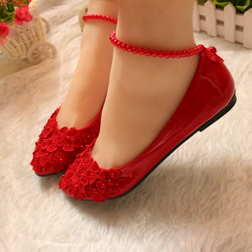 04e2a0785d8 Flowers Pearls Flat Bridal Wedding Shoes with Ankle Straps