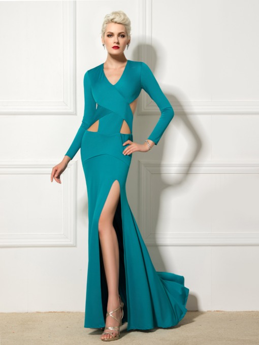 Long Sleeve V-Neck Hollow Split-Front Floor-Length Evening Dress