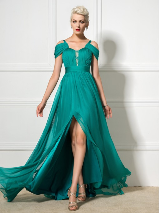 A-Line Straps Ruched Floor-Length Prom Dress