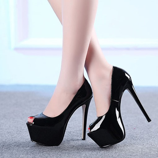 Peep Toe High Platform Stiletto Heel Women's Pumps