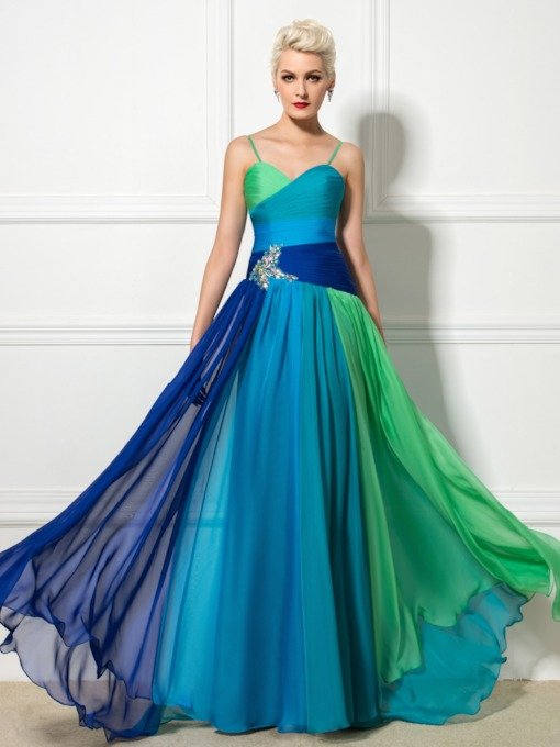 Spaghetti Straps A-Line Contrast Color Floor-Length Evening Dress