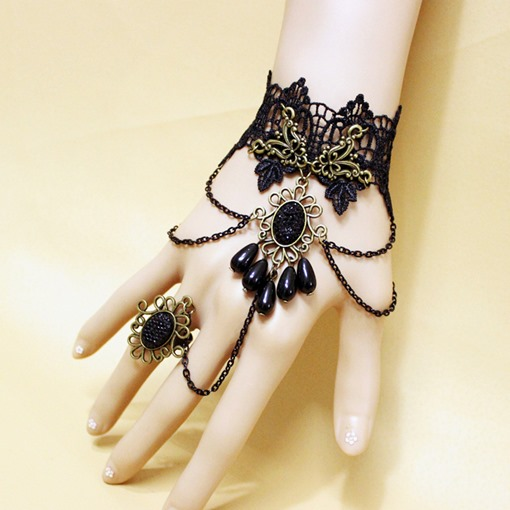 Palace Retro Black Lace Wrist Bracelet