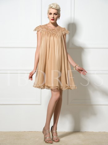 A-Line Cap Sleeve Appliques Beaded Mini Cocktail Dress