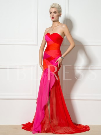 Sweetheart Mermaid Ruched Contrast Color Evening Dress