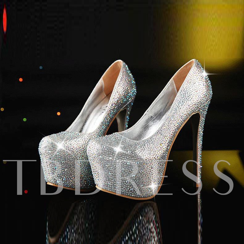 High Platform Round Toe Stiletto Heel Women's Pumps