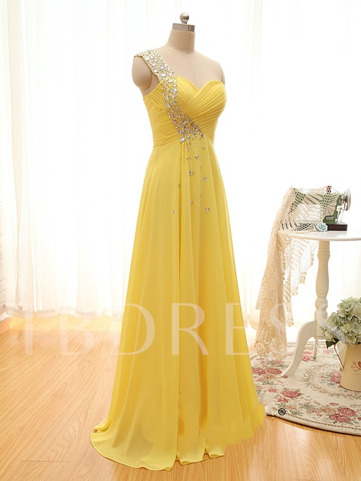 Beaded Empire Lace-Up One-Shoulder Chiffon Bridesmaid Dress