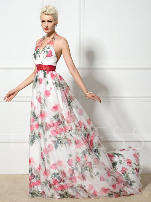 A-Line Halter Flower Printed Evening Dress
