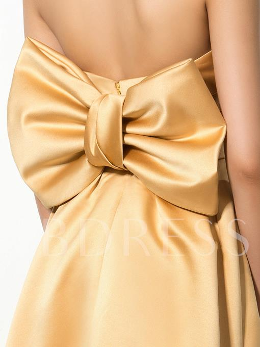 Strapless A-Line Bow Short Cocktail Dress