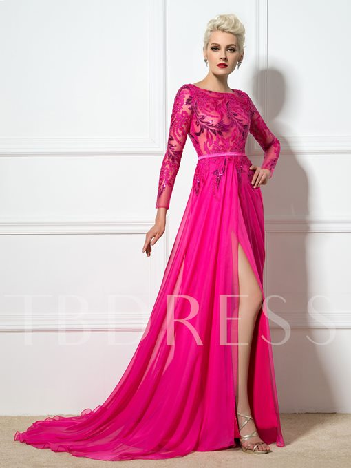 A-Line Sashes Bateau Neck Sequins Appliques Evening Dress