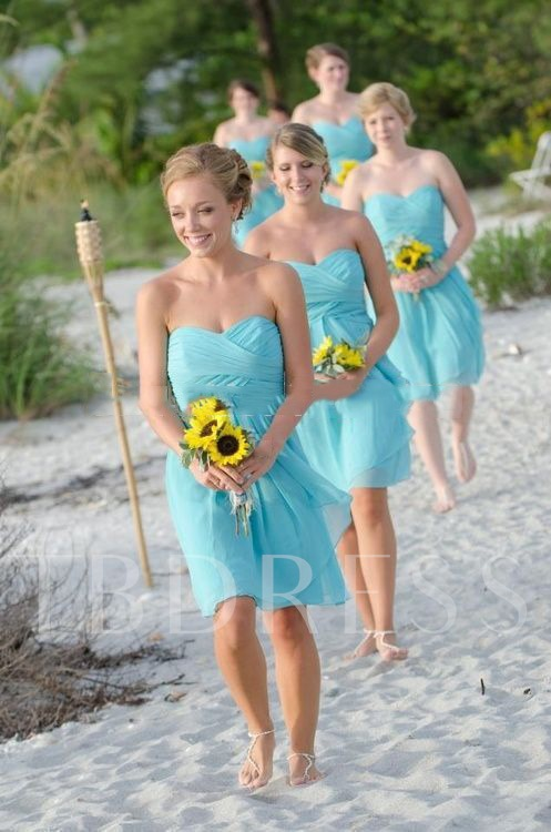 Sweetheart Pleats Short Beach Bridesmaid Dress