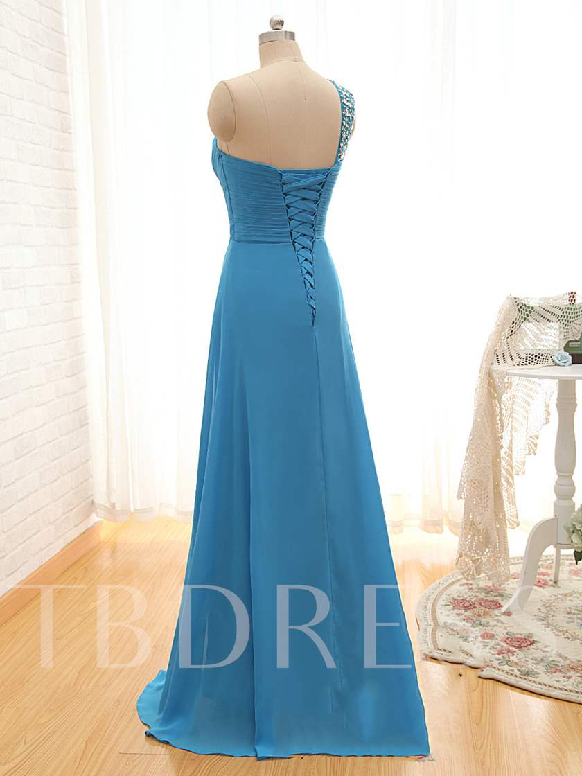a7734b587a2 Beaded Empire Lace-Up One-Shoulder Chiffon Bridesmaid Dress. Sold Out