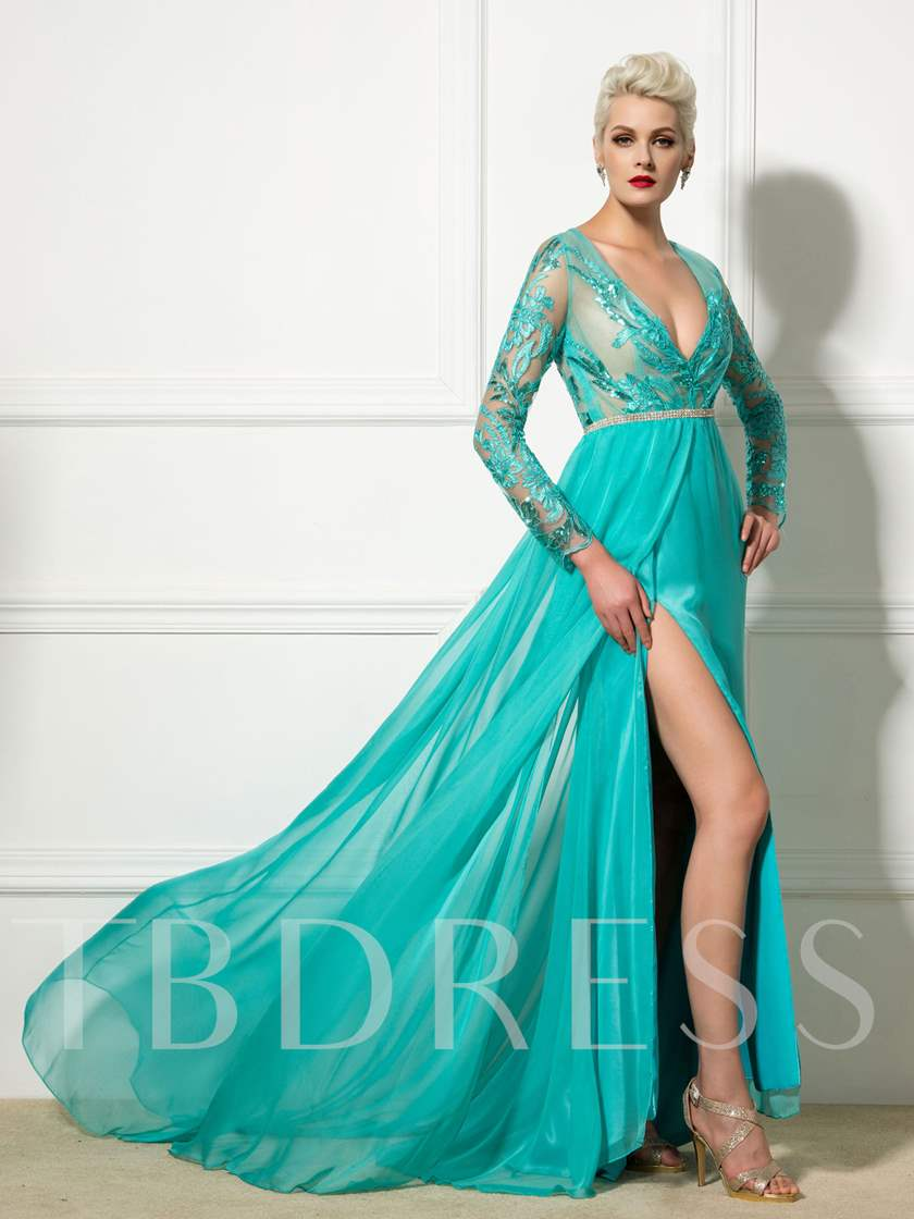 A-Line Sequins Deep V-Neck Appliques Evening Dress